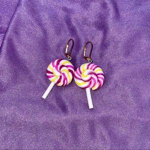 Rainbow lollipop huggies earrings raspberry swirl